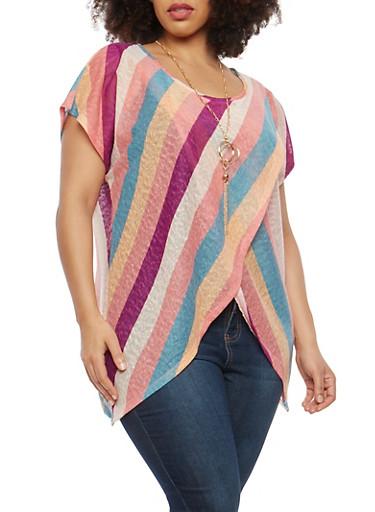 Plus Size Asymmetrical Striped Top with Necklace,MAUVE,large