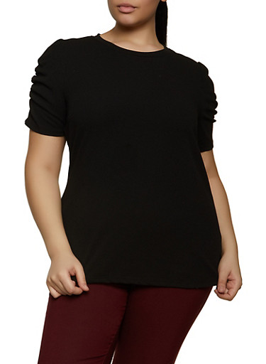 Plus Size Ruched Sleeve Top,BLACK,large