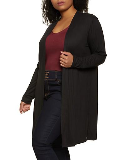 Plus Size Side Slit Soft Knit Duster,BLACK,large