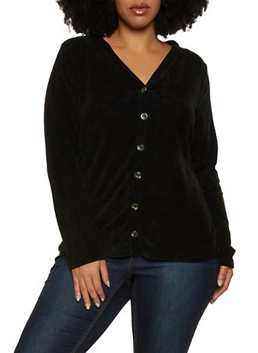 Plus Size Long Sleeve Chenille Top,BLACK,large
