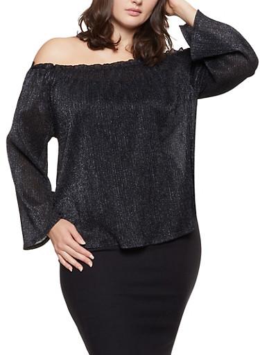 Plus Size Shimmer Knit Off the Shoulder Top,BLACK,large