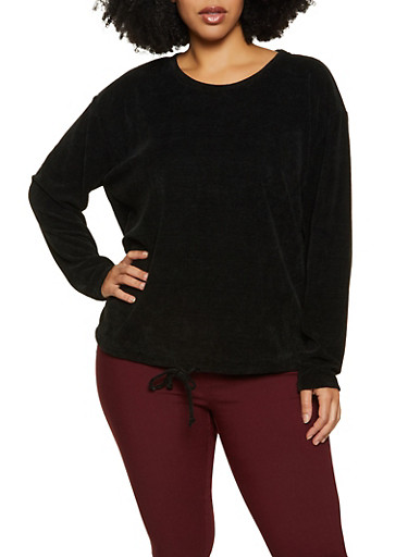 Plus Size Chenille Long Sleeve Top,BLACK,large