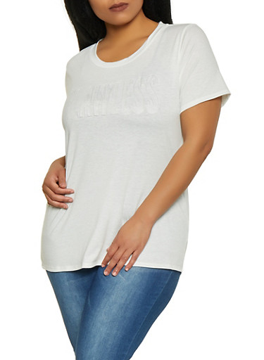 Plus Size Flawless 3D Graphic Tee,WHITE,large