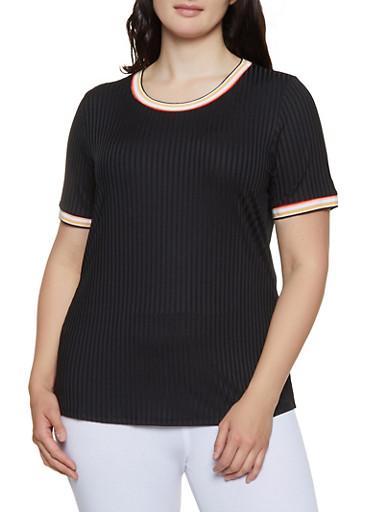 Plus Size Striped Trim Rib Knit Tee,BLACK,large