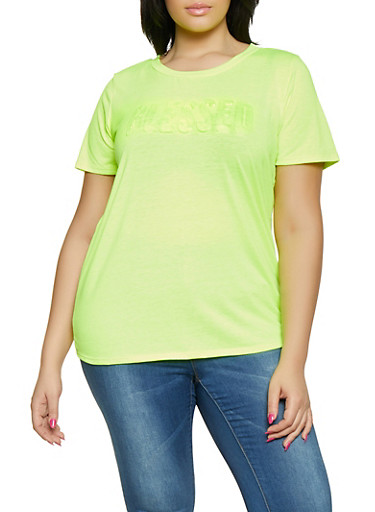 Plus Size Blessed 3D Graphic Tee,NEON LIME,large
