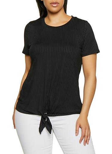 Plus Size Rib Knit Tie Front Top | 1912058752194,BLACK,large