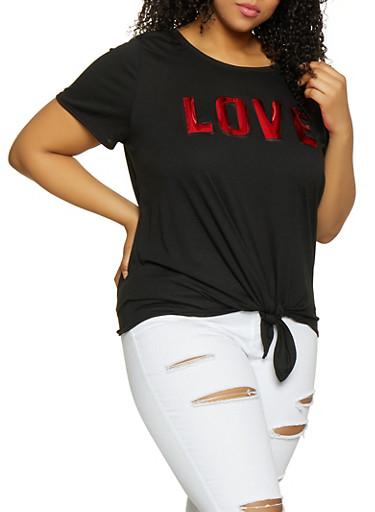 Plus Size 3D Foil Love Graphic Tee,BLACK,large
