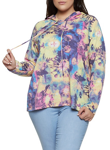 Plus Size Tie Dye Hooded Sweatshirt | 1912058753566,PINK,large
