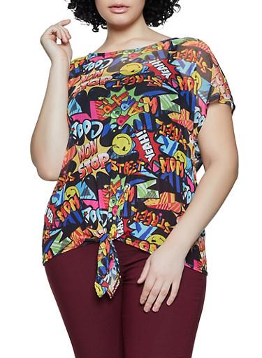 Plus Size Comic Book Graphic Mesh Top,BLACK,large
