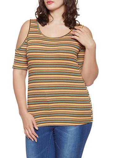 Plus Size Striped Cold Shoulder Top,MUSTARD,large