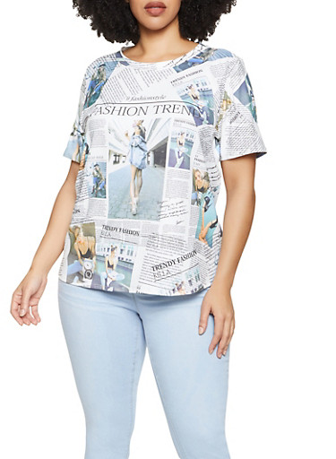 Plus Size Newspaper Graphic Tee,WHITE,large