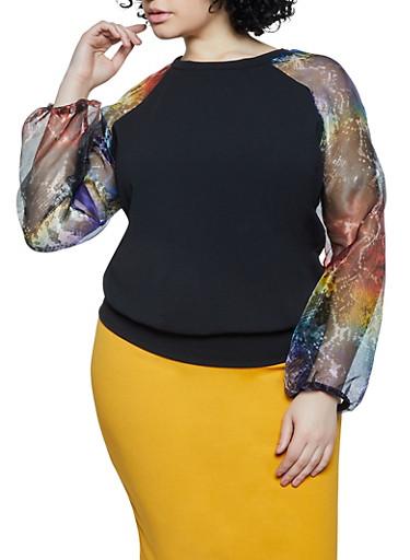 Plus Size Snake Print Organza Sleeve Top,BLACK,large