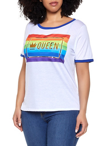 Plus Size Queen 3D Foil Graphic Tee,WHITE,large