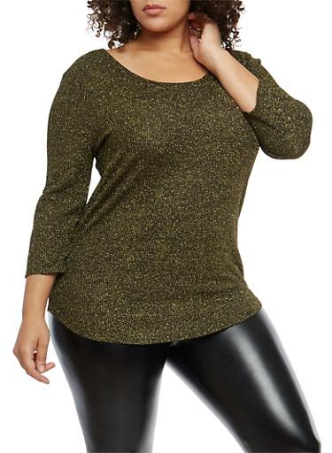 Plus Size Metallic Knit Caged Back Sweater,BLACK/GOLD,large