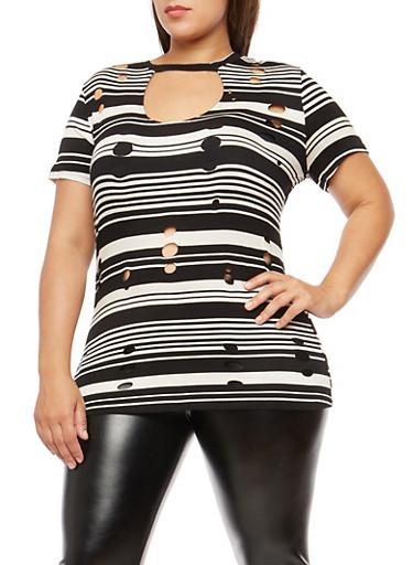 Plus Size Striped Laser Cut Tunic Top,BLACK-IVORY,large