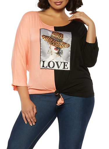 Plus Size Studded Patch Two Tone Top,PEACH,large