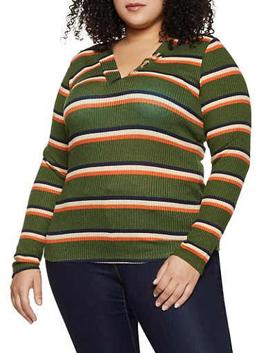 Plus Size Striped Rib Knit Top,OLIVE,large