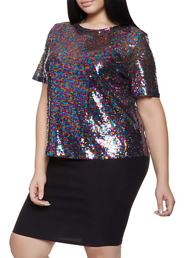 Plus Size Sequin Tee,BLACK,large