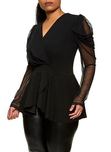 Plus Size Mesh Sleeve Faux Wrap Top,BLACK,large
