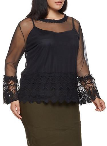 Plus Size Crochet Trim Mesh Top,BLACK,large