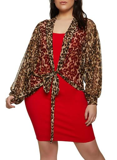 Plus Size Leopard Mesh Tie Front Top,BROWN,large