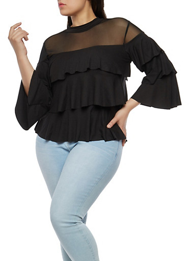 Plus Size Mesh Trim Tiered Top,BLACK,large