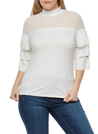 Plus Size Mesh Tiered Sleeve Top,WHITE,large