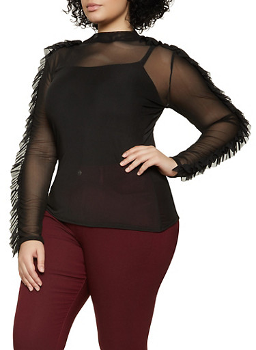 Plus Size Ruffled Sleeve Mesh Top,BLACK,large