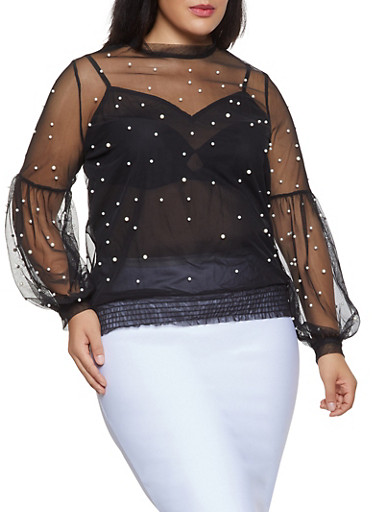 Plus Size Faux Pearl Studded Mesh Top,BLACK,large