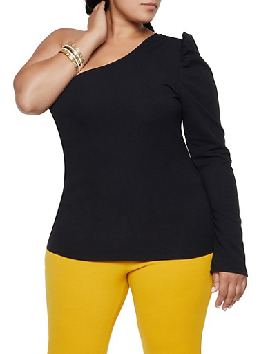 Plus Size One Shoulder Top,BLACK,large