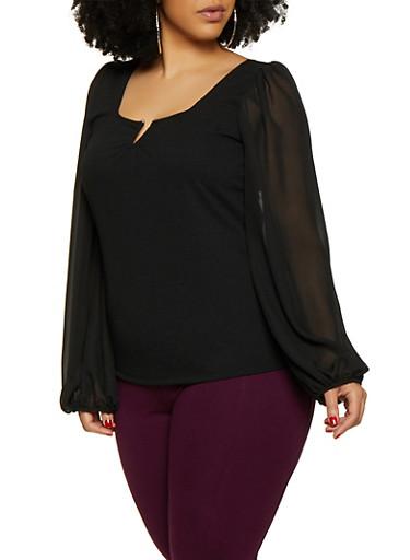 Plus Size Sheer Sleeve Top,BLACK,large