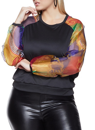 Plus Size Printed Organza Sleeve Top,BLACK,large