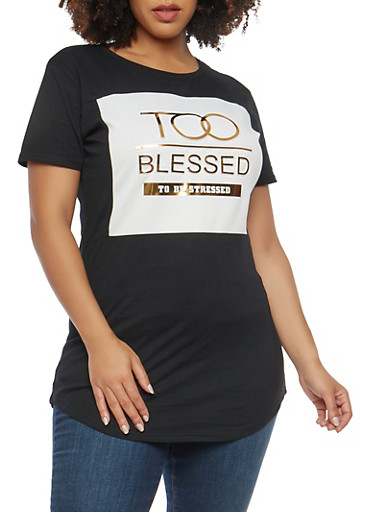 Plus Size Blessed Graphic Top,BLACK,large