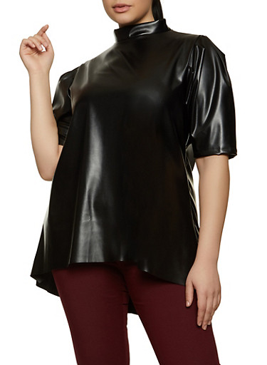 Plus Size Mock Neck Faux Leather Top,BLACK,large