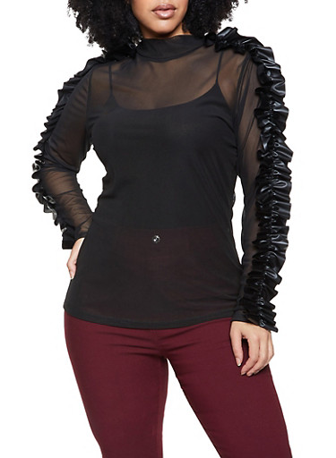 Plus Size Faux Leather Ruffled Mesh Top,BLACK,large