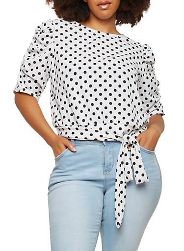 Plus Size Polka Dot Tie Front Top,WHITE,large