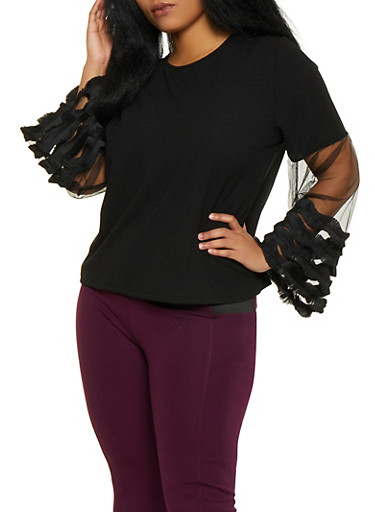 Plus Size Pleated Ruffle Mesh Sleeve Top,BLACK,large