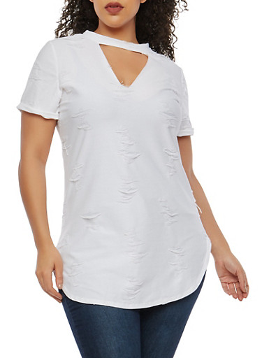 Plus Size Distressed Tunic Top,WHITE,large