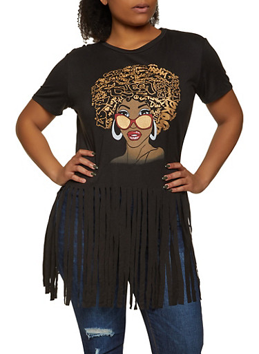 Plus Size Afro Queen Fringe Tee,BLACK,large