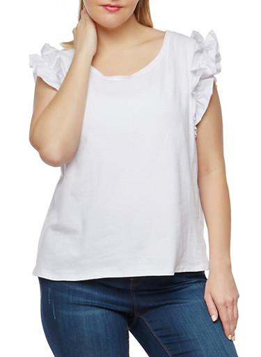 Plus Size Ruffle Sleeve Top,WHITE,large