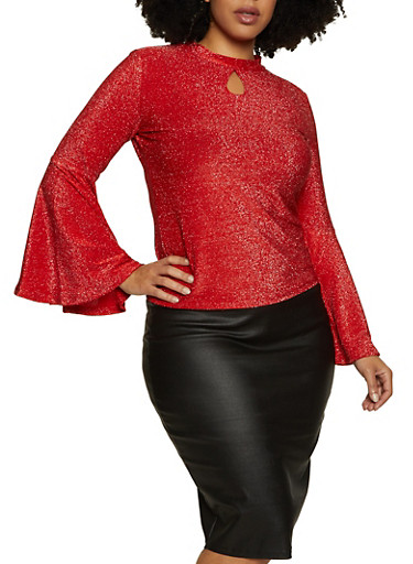 Plus Size Bell Sleeve Lurex Top,RED,large
