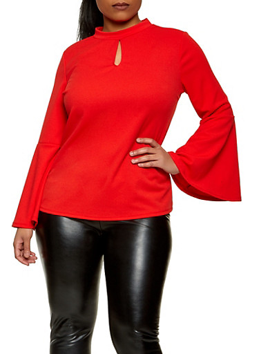 Plus Size Bell Sleeve Crepe Knit Top,RED,large