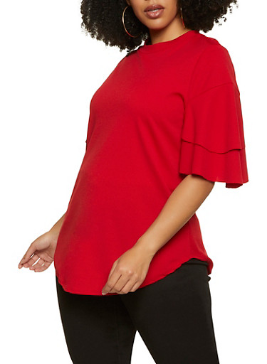 Plus Size Tiered Sleeve Round Hem Top,RED,large