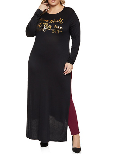 Plus Size Thou Shall Not Try Me Maxi Top,BLACK,large