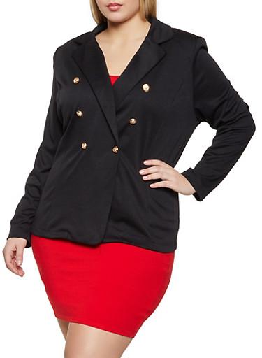 Plus Size Sailor Ponte Blazer,BLACK,large