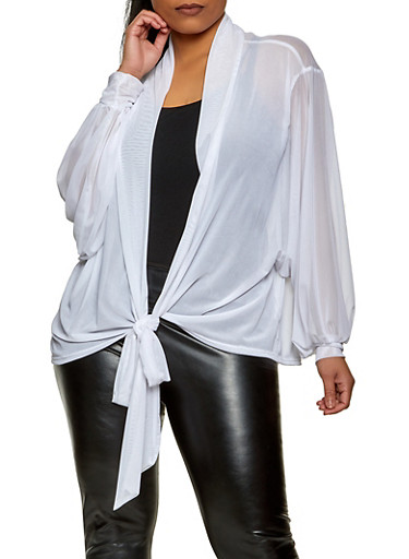 Plus Size Tie Front Dolman Sleeve Mesh Top,WHITE,large