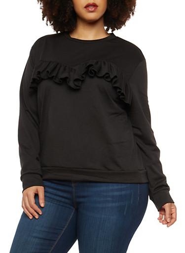 Plus Size Ruffle Front Sweatshirt,BLACK,large