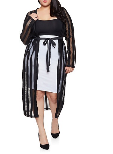 Plus Size Shadow Stripe Mesh Duster,BLACK,large