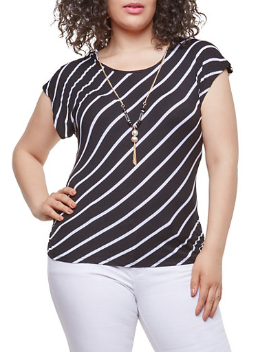 Plus Size Striped Tee with Necklace,BLACK,large