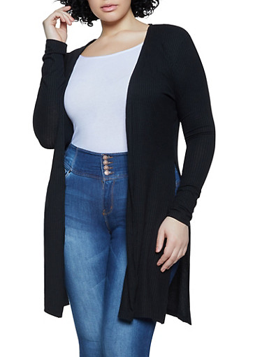Plus Size Ribbed Knit Duster,BLACK,large
